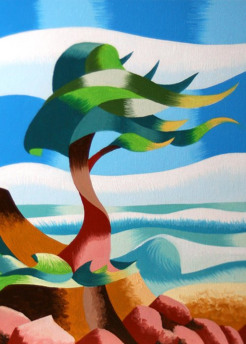 Cypress Greeting Card featuring the painting Abstract Rough Futurist Cypress Tree by Mark Webster