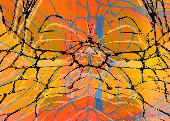 Abstract Greeting Card featuring the digital art Abstract Spider by Daniela Constantinescu