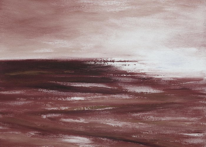 Abstract Greeting Card featuring the painting Abstract Sunset In Brown Reds by Gina De Gorna