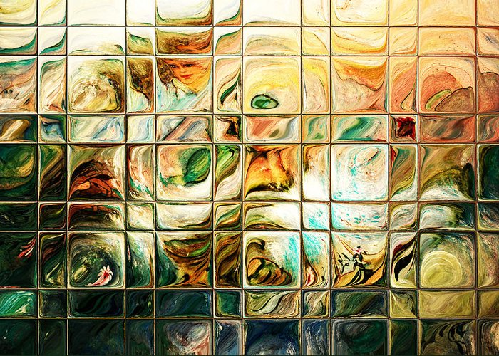 Abstract Greeting Card featuring the digital art Abstract-through Glass by Patricia Motley