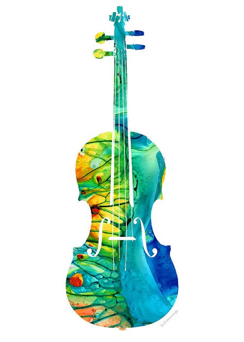 Violin Greeting Card featuring the painting Abstract Violin Art By Sharon Cummings by Sharon Cummings
