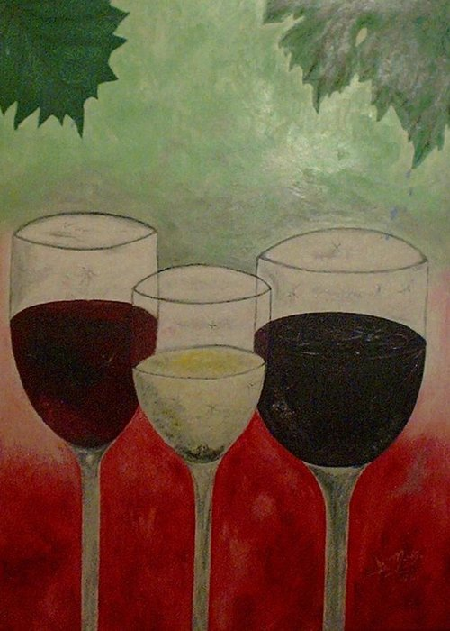 Wines Greeting Card featuring the painting Abstract Wines by Guillermo Mason