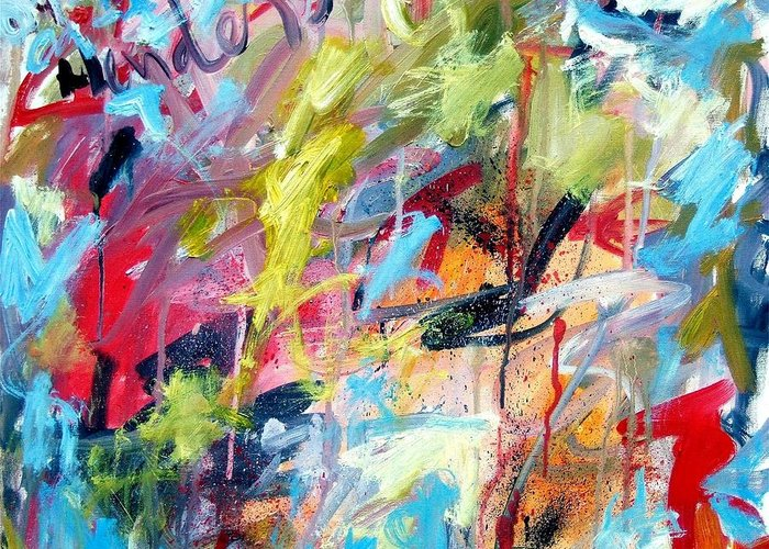 Abstract Greeting Card featuring the painting Abstract with Drips and Splashes by Michael Henderson
