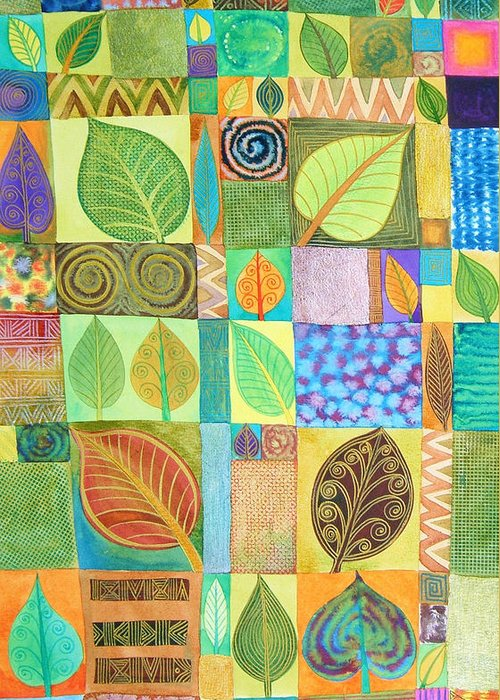 Abstract Greeting Card featuring the painting Abstract With Leaves by Jennifer Baird