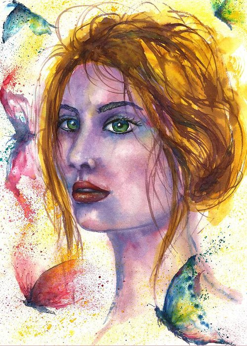Women Face Greeting Card featuring the painting Abstract women face by Natalja Picugina