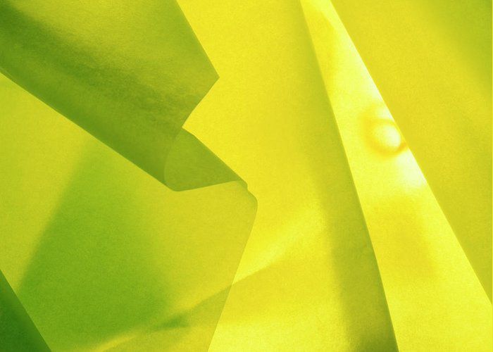 Abstract Greeting Card featuring the photograph Abstract Yellow And Green by Stefania Levi