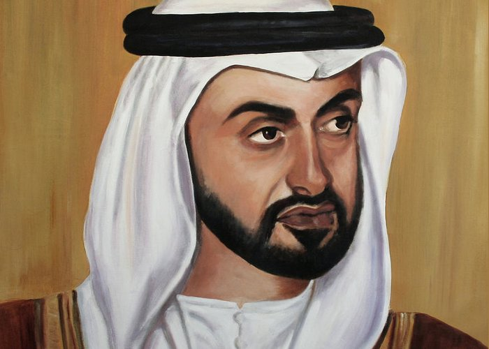 Abu Dhabi Greeting Card featuring the painting Abu Dhabi Crown Prince by Fiona Jack