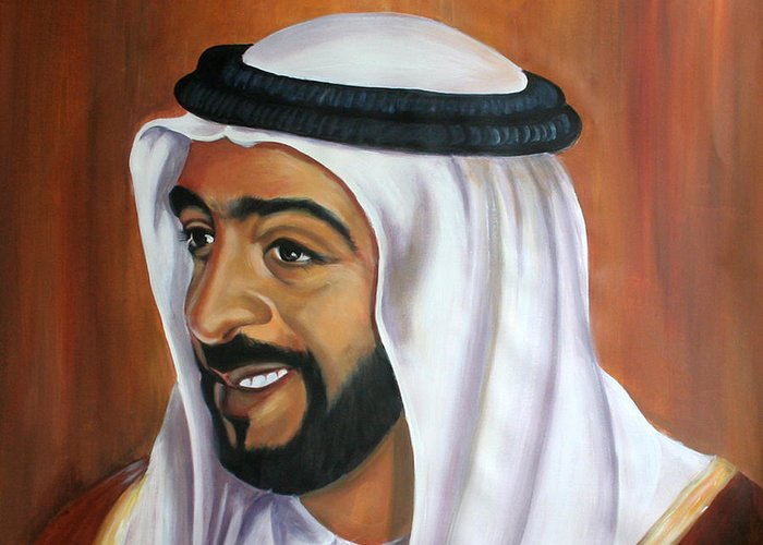 Portrait Greeting Card featuring the painting Abu Dhabi by Fiona Jack