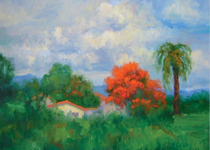 Honduras Greeting Card featuring the painting Acacias And Red Roofs by Bunny Oliver