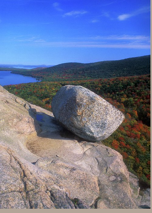Acadia National Park Greeting Card featuring the photograph Acadia Bubble Rock Autumn by John Burk