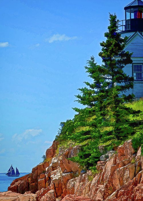 New England Greeting Card featuring the photograph Acadia Lighthouse by Dave Thompsen