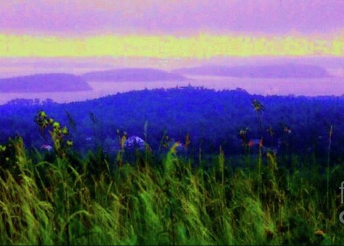 Acadia Greeting Card featuring the mixed media Acadia Sunrise by Desiree Paquette