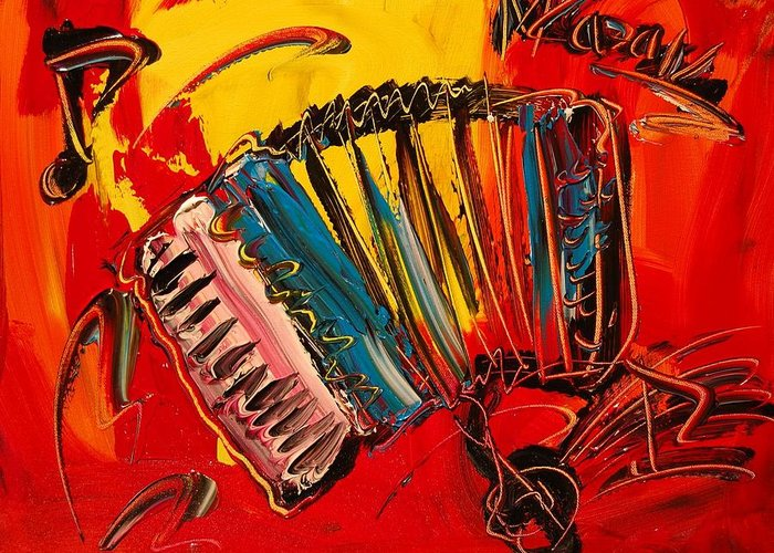 Landscape Framed Prints Greeting Card featuring the painting Accordeon by Mark Kazav