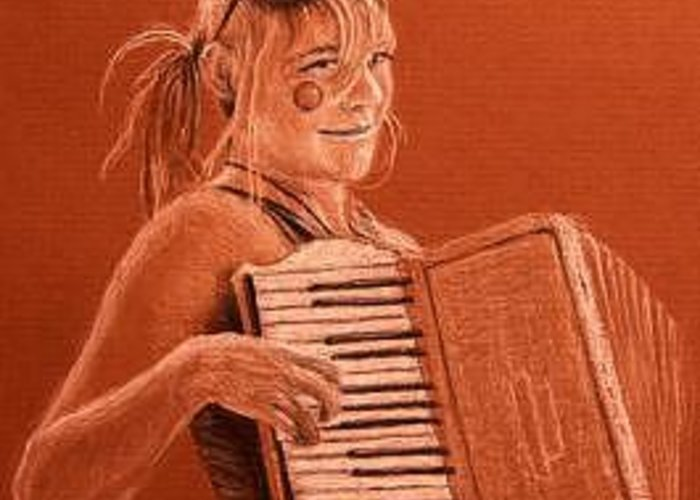 Accordion Greeting Card featuring the drawing Accordion Girl by Michael Beckett