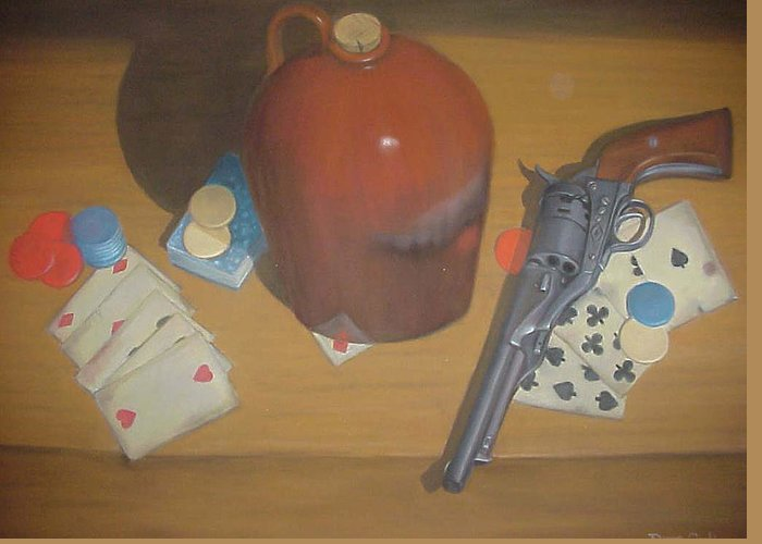 Playing Cards Greeting Card featuring the painting Aces And Eights Or Dead Man's Hand by Diane Caudle