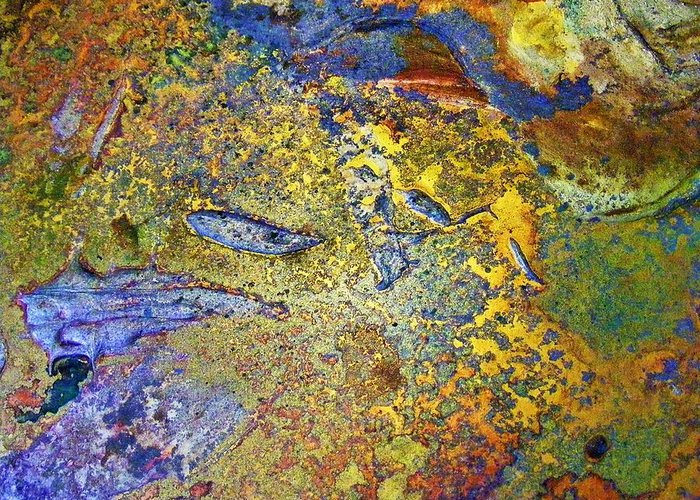 Abstract Greeting Card featuring the painting Acid Vs Texture by Darla J Bower Oder