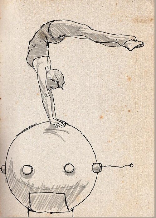 Acrobat Greeting Card featuring the drawing Acrobat On Robot by H James Hoff