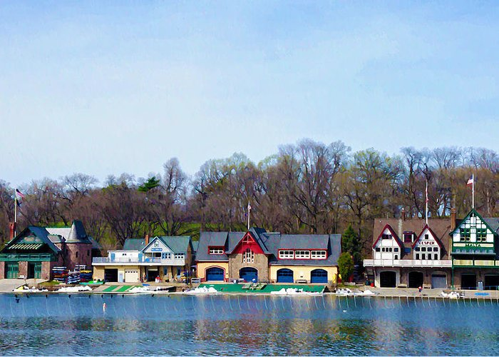 Boathouse Row Greeting Card featuring the photograph Across From Boathouse Row - Philadelphia by Bill Cannon