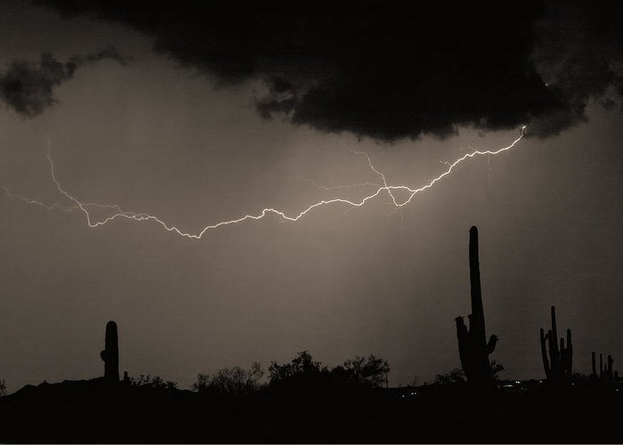 Lightning Greeting Card featuring the photograph Across The Desert - Sepia Print by James BO Insogna