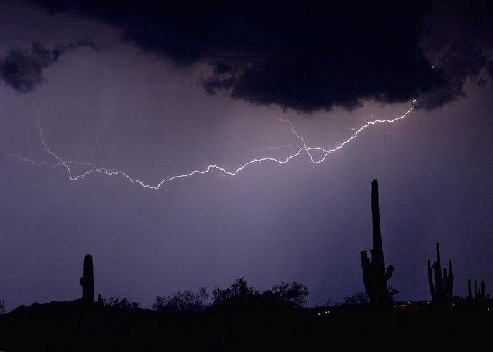 Lightning Greeting Card featuring the photograph Across The Desert by James BO Insogna