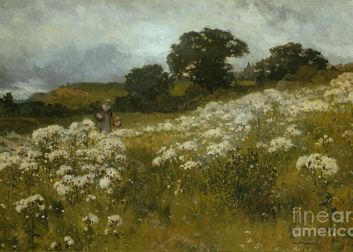 Across The Fields (oil On Canvas) By John Mallord Bromley (1862-1940) Greeting Card featuring the painting Across The Fields by John Mallord Bromley