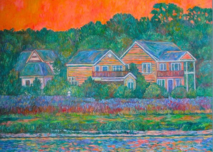 Landscape Greeting Card featuring the painting Across The Marsh At Pawleys Island    by Kendall Kessler