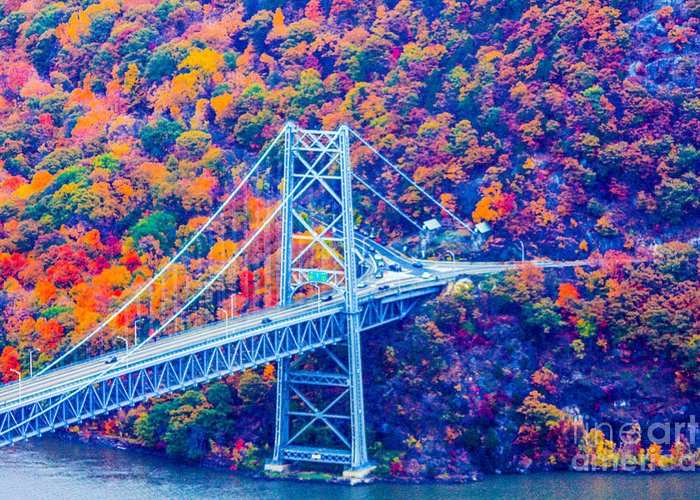 Bear Mountain Bridge Greeting Card featuring the photograph Across The Other Side Of Bear Mountain Bridge by William Rogers