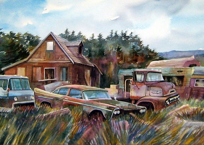 Cars Greeting Card featuring the painting Across The Road And Gone by Ron Morrison