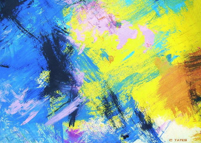 Abstract Greeting Card featuring the painting Actuation 1 by Charles Yates