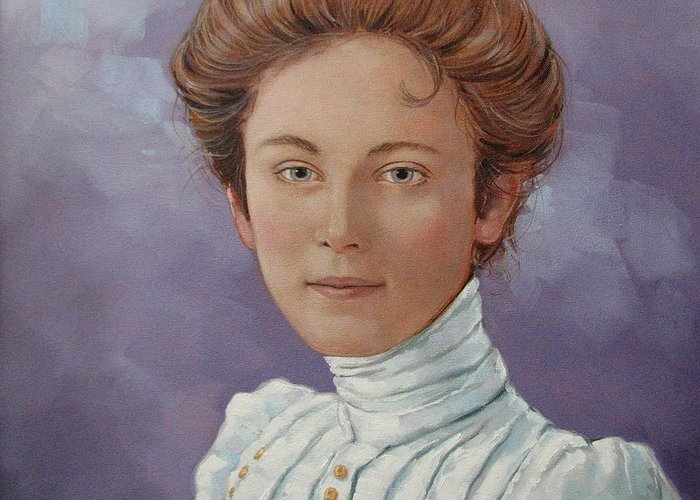 Posthumous Portrait Greeting Card featuring the painting Ada Douglas by Jerrold Carton