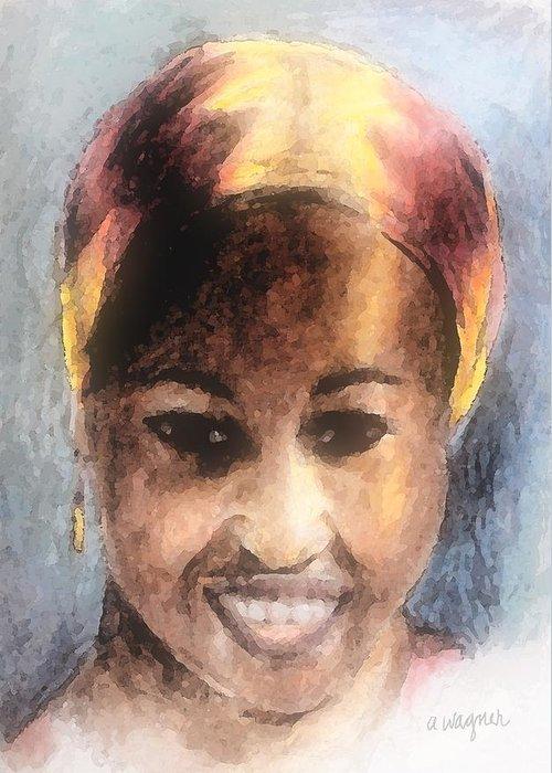 Woman Greeting Card featuring the digital art Adaeze II by Arline Wagner