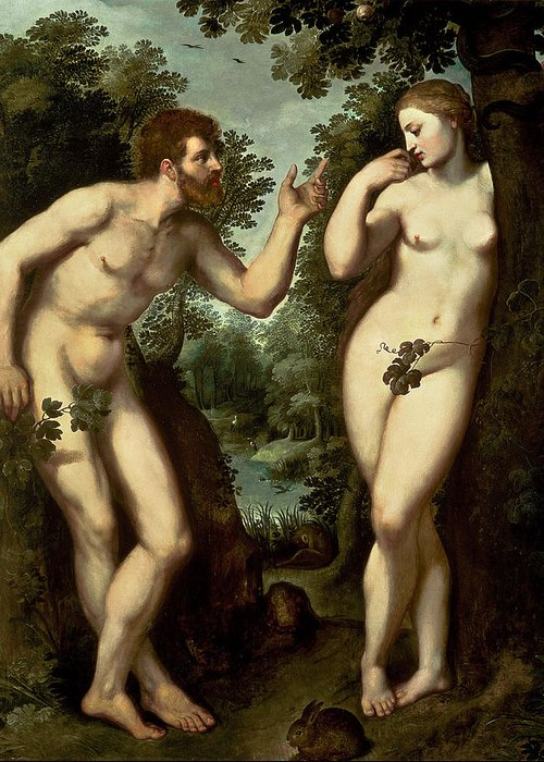 Adam Greeting Card featuring the painting Adam And Eve by Peter Paul Rubens