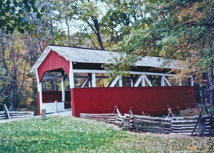Pictures Of Covered Bridges Greeting Card featuring the photograph Adam Millers Bridge by Penny Neimiller