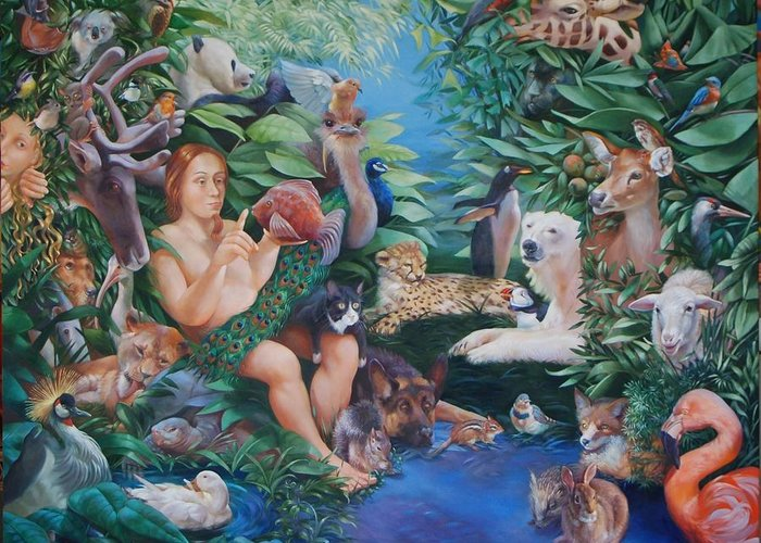Adam Eve Greeting Card featuring the painting Adam Naming The Animals And The Appearance Of Eve by Rosemarie Adcock