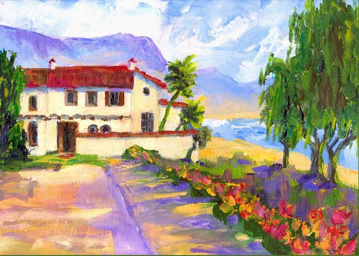 Spanish Greeting Card featuring the painting Adamson Home Malibu by Randy Sprout