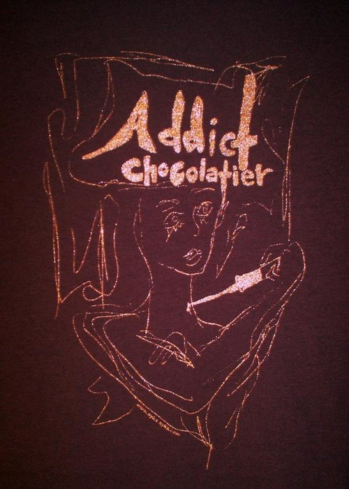 Dark Chocolate Greeting Card featuring the drawing Addict Chocolatier by Ayka Yasis