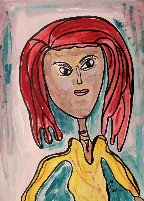 Girl Greeting Card featuring the painting Addie- Noble And Kind by Mary Carol Williams