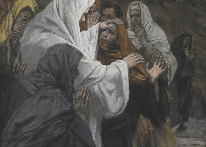 Life Of Christ; St.; Disciple; Apostle; Male; Questioning; Last Supper; Belief; God The Father; Reassuring; Reassurance Greeting Card featuring the painting Address To Saint Philip by Tissot