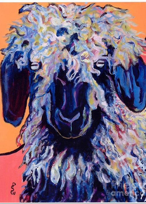 Goat Print Greeting Card featuring the painting Adelita  by Pat Saunders-White
