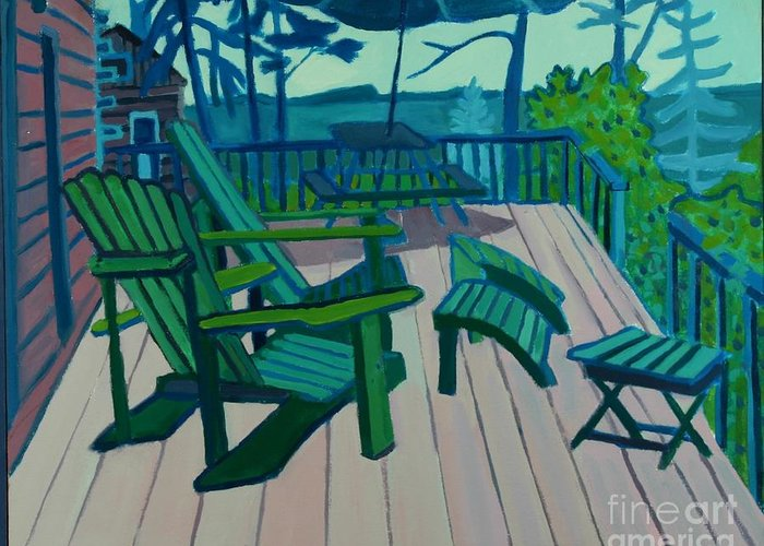 Ocean Greeting Card featuring the painting Adirondack Chairs Maine by Debra Bretton Robinson