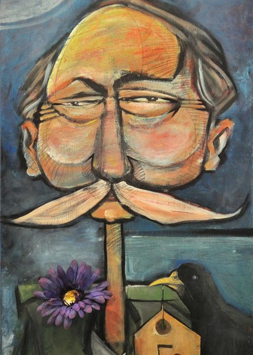 Mustache Paintings Greeting Cards
