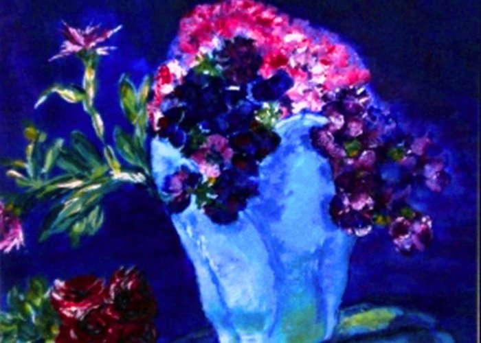 Flowers Greeting Card featuring the painting Admire by Helena Bebirian