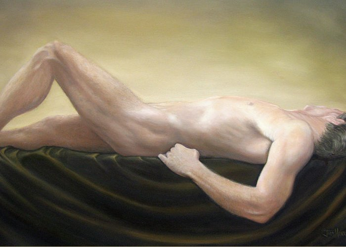 Nude Greeting Card featuring the painting Adonis by Judy Merrell