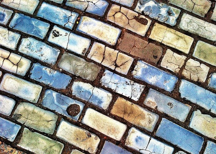 Old San Juan-puerto Rico-cobblestones Greeting Card featuring the digital art Adoquines by Olivier Calas