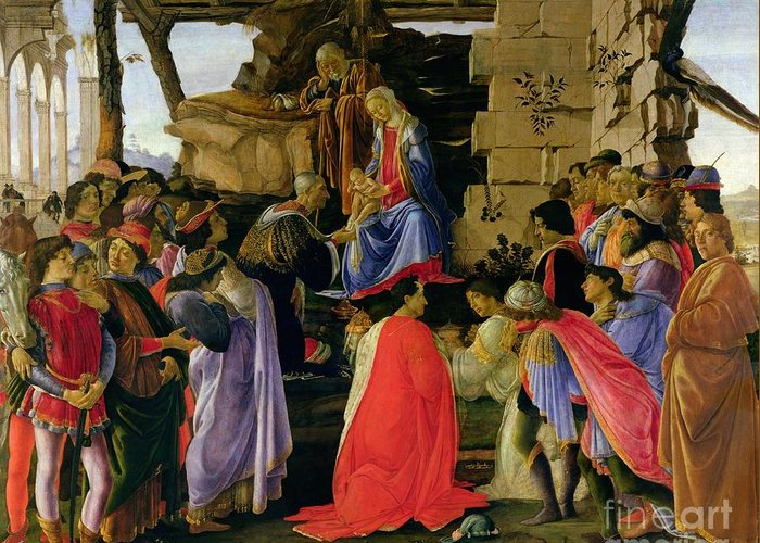 Adoration Greeting Card featuring the painting Adoration Of The Magi by Sandro Botticelli