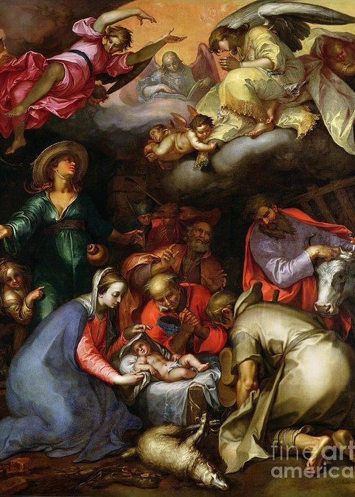 Adoration Of The Shepherds Greeting Card featuring the painting Adoration Of The Shepherds by Abraham Bloemaert