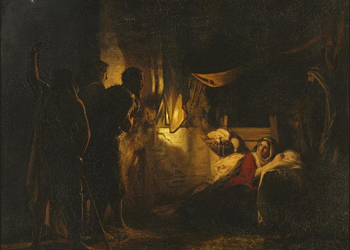 Carl Heinrich Bloch Greeting Card featuring the painting Adoration Of The Shepherds by Carl Heinrich Bloch