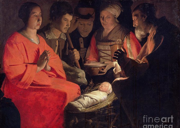 Adoration Greeting Card featuring the painting Adoration Of The Shepherds by Georges de la Tour