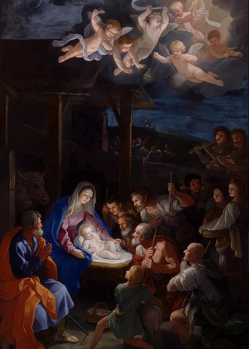 Guido Reni Greeting Card featuring the painting Adoration Of The Shepherds by Guido Reni