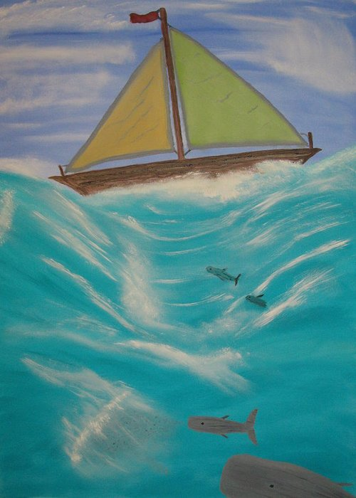 Boats Greeting Card featuring the painting Adrift At Sea by Edwin Long